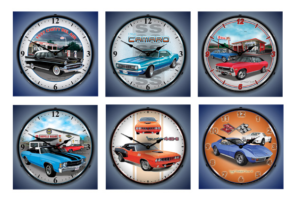 Lighted Muscle Car Clocks - Nova, Corvette, Cuda, Chevelle, Camaro